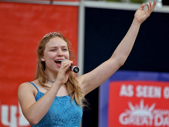 """Angelle Waltz, 15 of Cedar Falls, sang """" The Blue Danube Waltz """" at the Bill Riley Talent Search on the Anne and Bill Riley Stage at the Iowa State Fair in Des Moines on Saturday afternoon August 9, 2014."""