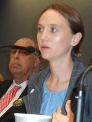 Frances Kelley of Louisiana Progress Action speaks in favor of House Bill 11 during a committee hearing. Behind her is retired Army Lt. Gen. Russel L. Honoré, who is now a leader of the Green Army environmental group and who also supports HB 11.