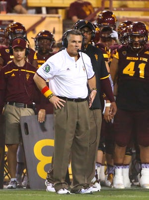 Sep 26, 2015: Arizona State Sun Devils head coach Todd Graham reacts on the sidelines in the second half against the Southern California Trojans at Sun Devil Stadium. The Trojans defeated the Sun Devils 42-14.