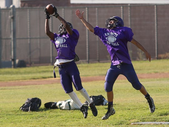 The Shadow HIlls Knights football team practices in