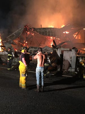 A large barn in the 2400 block of Back Road was destroyed during a fire in the early morning hours of June 25. The barn was a part of Bruce D. Gamble and Sons Feed and Supply.
