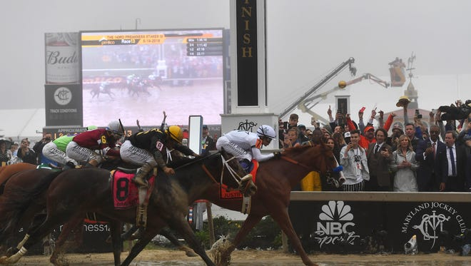 Justify with Mike Smith atop wins the 143rd Preakness Stakes horse race at Pimlico race track, Saturday, May 19, 2018, in Baltimore. Bravazo with Luis Saez aboard wins second with Tenfold with Ricardo Santana Jr. atop places.
