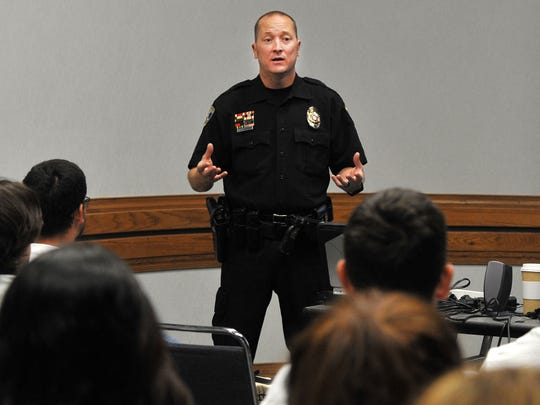 Jeff Hughes of the Wichita Falls Police Department speaks with Wichita Falls ISD high school seniors about careers in criminal justice during the Senior Send-Off at the Multi-Purpose Events Center Wednesday morning.