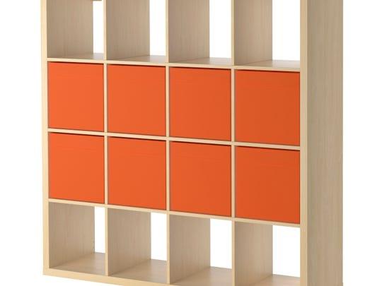 The KALLAX book shelf in birch from Ikea.