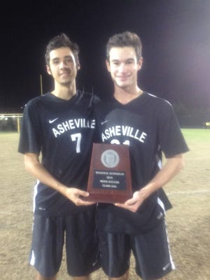 Asheville High's Eion Dockery (7) and Will Jones.