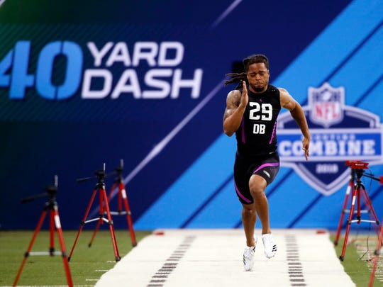 Tulane Green Wave defensive back Parry Nickerson runs a 4.32 40-yard dash during the 2018 NFL Combine at Lucas Oil Stadium.