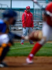 Lewistown Redbirds manager Scott Sparks, center in this 2015 photo, has guided his team to a berth in the American Legion Class A State Tournament next week in Florence.