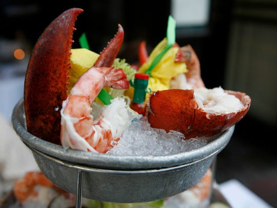 The seafood tower sits on an outdoor dining table at Underhills Crossing on Pondfield Road in Bronxville.