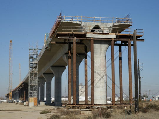 This Dec. 6, 2017 file photo shows one of the elevated sections of the high-speed rail under construction in Fresno.