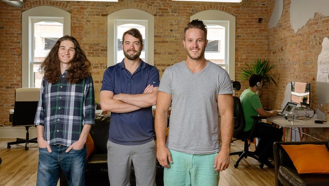 The LawnGuru co-founders, from left to right, Jacob Torrence,  Skye Durrant and Brandon Bertrang.