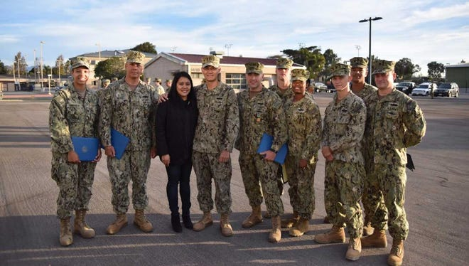 Eight Seabees from Naval Construction Training Center Port Hueneme were recognized during command quarters, Nov. 20, 2017 for their lifesaving efforts.