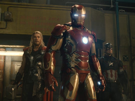 """Thor (Chris Hemsworth), Iron Man/Tony Stark (Robert Downey Jr.) and Captain America/Steve Rogers (Chris Evans) in a scene from the motion picture """"Avengers: Age Of Ultron."""""""