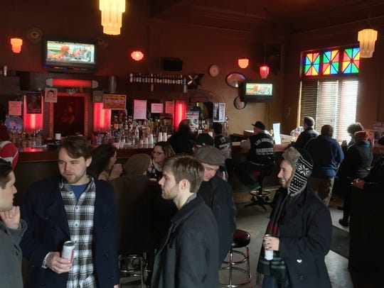 Customers hang out at Small's Bar in Hamtramck, MI
