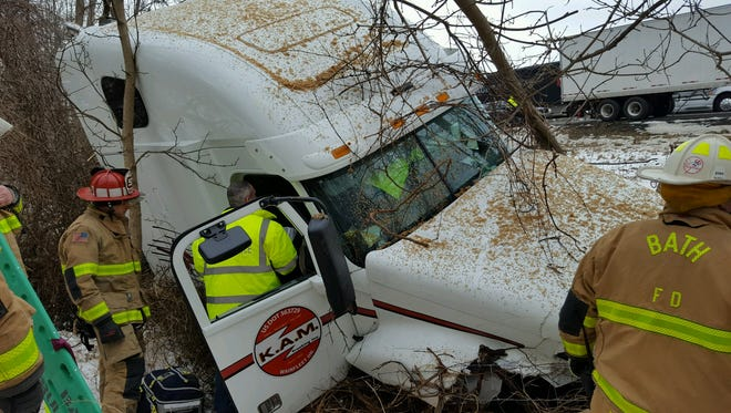 Bath firefighters responded Sunday afternoon to a tractor trailer accident in the eastbound lanes of Interstate 86. The driver was airlifted to an area hospital.
