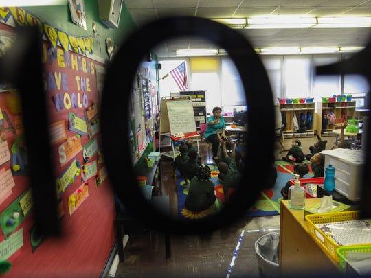 Aneya Hunt a kindergarten teacher at EastSide Charter School, leads her class in a lesson on Thursday.