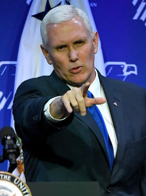 Vice President Mike Pence speaks during the Republican Jewish Coalition's annual leadership meeting Feb. 24, 2017, at The Venetian in Las Vegas.