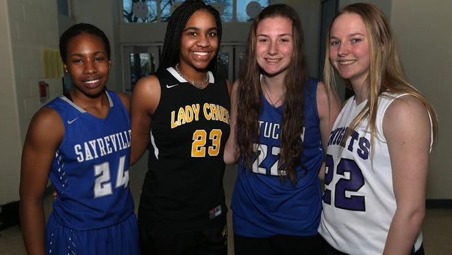 All-Area girls basketball first team L-R Sayreville's Isi Enahoro, Piscataway's LaNiya Miller, Metuchen's Brynn Farrell and Old Bridge's Amanda Carney March 21, 2017 photo by Ed Pagliarini