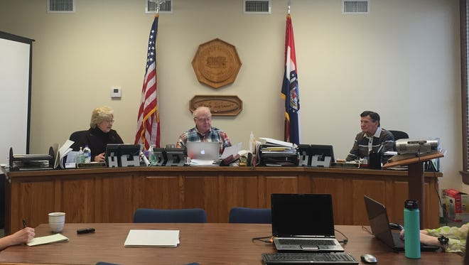 The Christian County Commissioners, from left to right, Sue Ann Childers, Ray Weter and Bill Barnett.