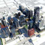 Rendering of West 2nd District phase 6 showing the skyline of downtown Reno on approach from Interstate 80.