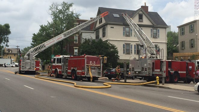 A structure fire has shut down northbound lanes of Reading Road in Walnut Hills.