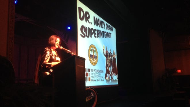 Superintendent Nancy Graham speaks at the State of Lee County schools event Friday, May 30, at Broadway Palm Theatre