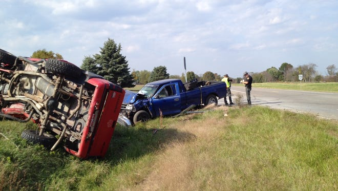 Two pickup trucks crashed at the intersection of Ohio 37 and Carroll-Eastern Road around this afternoon. Three people were transported to the hospital