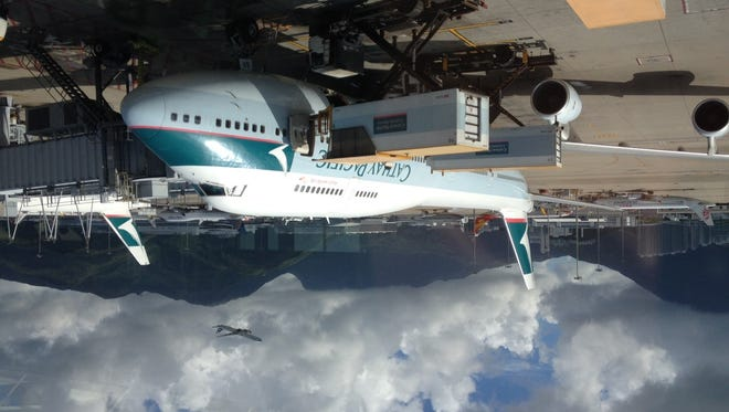 A Cathay Pacific Boeing 747 aircraft, as seen on my travels in Hong Kong on Aug. 31, 2014.