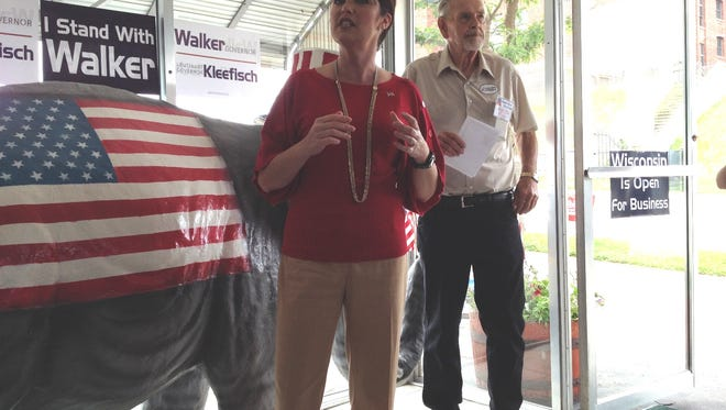 Lt. Gov. Rebecca Kleefisch addresses a Door County Republican Party gathering in Sturgeon Bay on Saturday. Local party chairman Bill Berglund stands behind her.