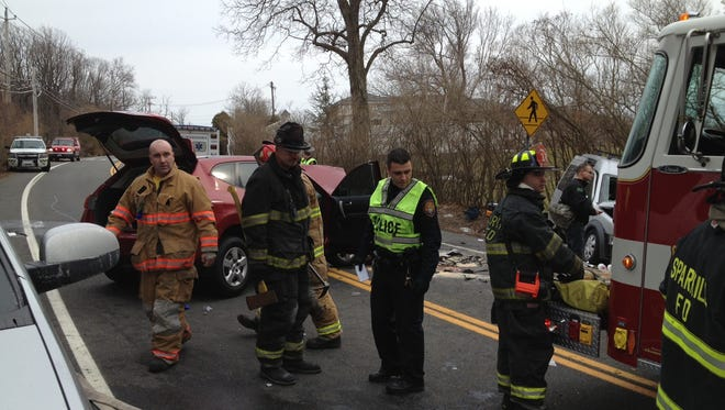 Emergency responders at the scene of a car accident that left four people injured on Route 9W in Sparkill.