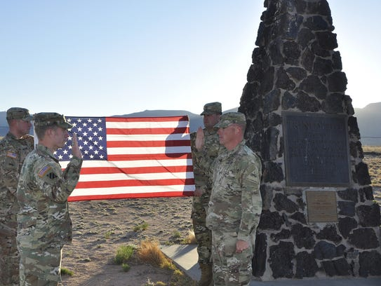 Reenlistment ceremony at the Trinity site.