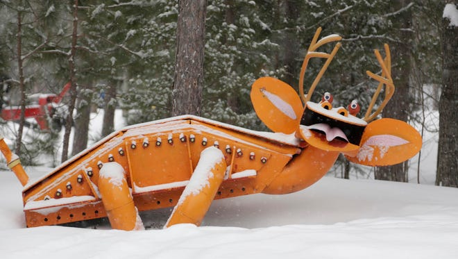 Tom Lakenen runs a sculpture park and a warming lean-to along snowmobile trail 417 just miles outside of Marquette. Lakenen uses scrap metal to weld and piece together his sculptures.