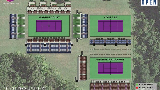 The Louisville Boat Club will add three show courts for next year's WTA tournament.