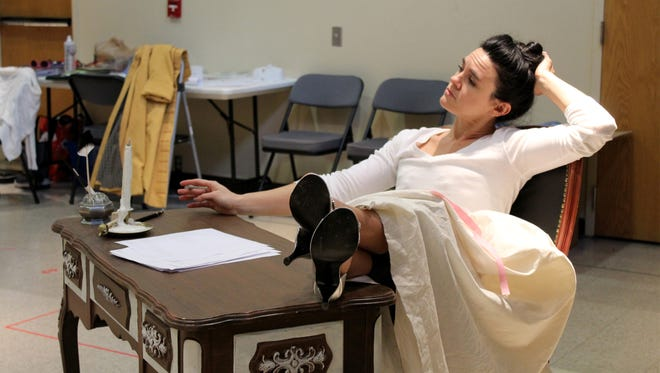 "Jessica Lynn Carroll (who portrays Marie Antoinette) in rehearsal for ""The Revolutionists"" at Cincinnati Playhouse in the Park."