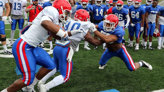 Individual gains have been the focus of Louisiana Tech's spring practice. Pictured here are members of the Bulldogs going through the Oklahoma drill.
