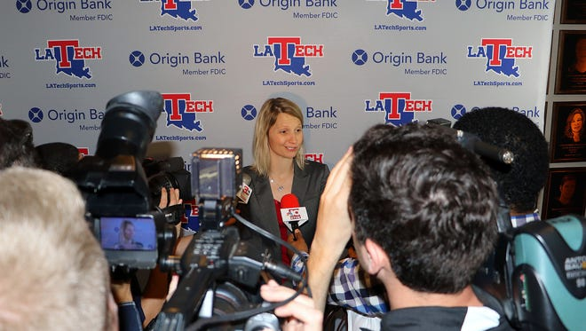 Louisiana Tech coach Brooke Stoehr meets with the media after her introductory press conference in April.