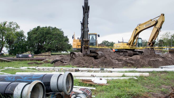 The discovery of a potential carcinogen in groundwater has stalled construction of the multimillion-dollar Corrine Jones Stormwater Park in downtown Pensacola.  Tuesday, June 14, 2016.