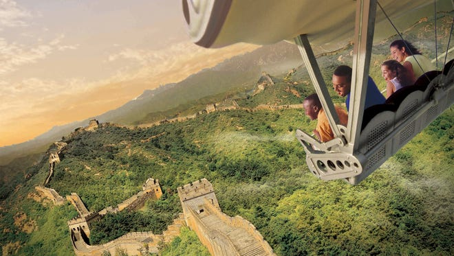 SOARIN' AROUND THE WORLD -- Guests will celebrate the U.S. debut of the new SoarinÕ Around the World attraction at Disney California Adventure Park on June 17, 2016.  The expanded attraction takes guests on an exhilarating ÒflightÓ above spectacular global landscapes and man-made wonders. (Disneyland Resort)
