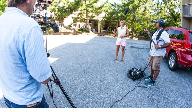 """Delaware builder Marnie Oursler films an episode of the DIY Network's """"Big Beach Builds"""" series in Bethany Beach. The new Delaware Motion Picture and Television Development Commission hopes the program will be the first of many film and TV projects produced in Delaware."""