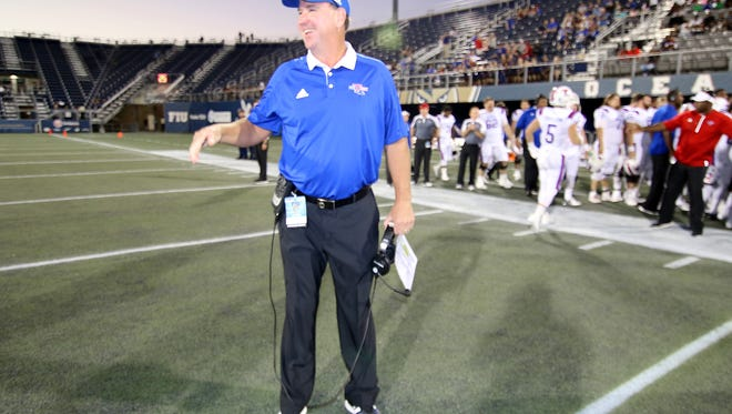 Louisiana Tech coach Skip Holtz and his base salary of $500,000 ranks 12th among 13 coaches in Conference USA for 2016.