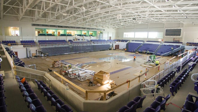 Construction continues recently on the Suncoast Credit Union Arena at Florida SouthWestern State College in Fort Myers. The arena is scheduled to open Tuesday, Nov. 29, 2016.