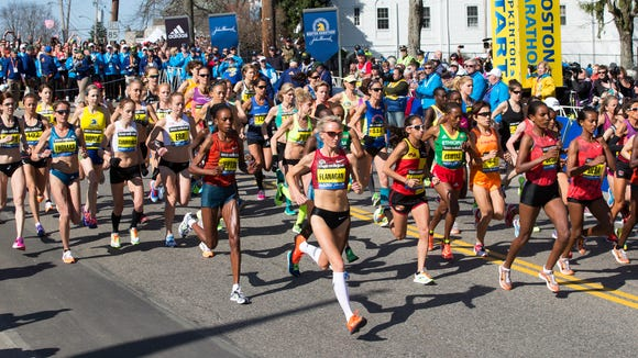 "The elite women, including American Shalene Flanagan, start the Boston Marathon in 2014, a year after the Boston bombings, as chronicles in the new documentary, ""Boston."""