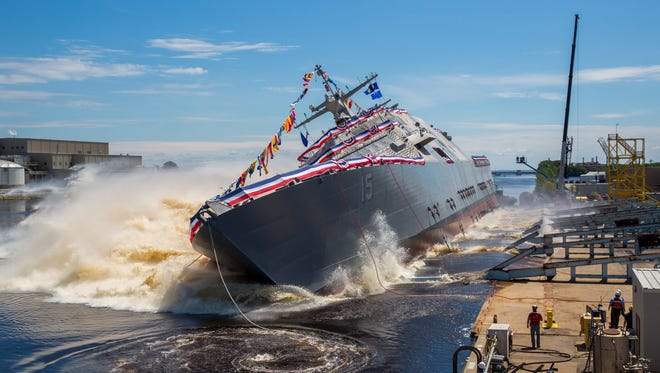 The 15th Littoral Combat Ship, the future USS Billings launches into the Menominee River in Marinette, on July 1.