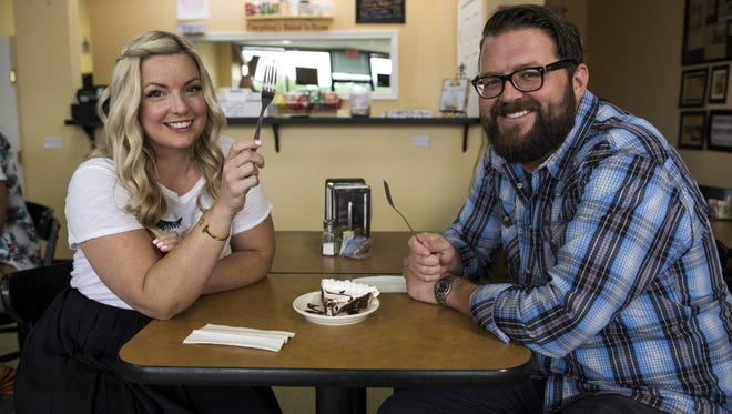 Hosts Damaris Phillips and Rutledge Wood at The Pie Folks, as seen on Southern and Hungry, Season 1.