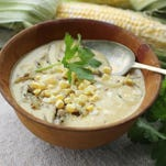 Corn chowder with sunflower seeds and onions. This dish was made from a recipe by J.M. Hirsch.