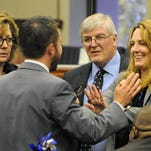 Skip Daly, D-Sparks, third from left, looks on as Democrats discuss an issue on the floor of the Nevada Assembly during the 2013 Legislature. Daly is unsure he will run again after losing his seat in 2014.