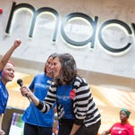 "Six-year-old Braylon (left), of Charlotte, N.C. kicks off the Macy's Believe Campaign benefiting Make-a-Wish at the Macy's Southpark store in Charlotte, NC Friday, Nov. 6, 2015. ""Believers"" can bring a stamped letter to Santa to their local Macy's store. For each letter received Macy's will donate $1 to Make-A-Wish, up to $1 million to help grant the wishes of children with life threatening medical conditions. (Jason E. Miczek / AP Images for Macy's)"