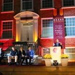 Robert V. LaPenta talks about his support of Iona College after it was announced Friday evening on campus that he was making a historic $15 million gift to the College.
