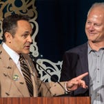 Gov. Matt Bevin officially names Kenny Mayne of ESPN a Kentucky Colonel during the 2016 They're Off! Luncheon on Friday. 4/22/16