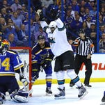 San Jose Sharks right wing Joel Ward (42) celebrates after scoring a goal against the St. Louis Blues in Game 5 of the Western Conference Final at Scottrade Center Monday in St. Louis. San Jose won 6-3.