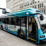All-electric, non-polluting ZeroBuses now travel the downtown First Friday Hop routes.